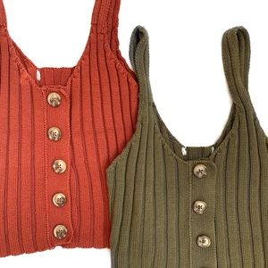 Knit Button Tank Tops